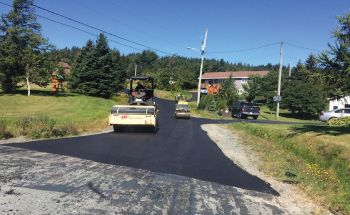 Rollers flatting paved road